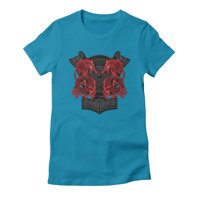 Fighting Fenrir Red Women's Fitted T-Shirt by Celtic Hammer Club