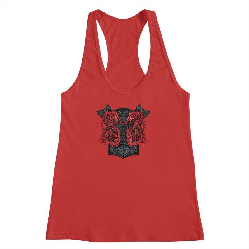 Fighting Fenrir Red Women's Racerback Tank by Celtic Hammer Club