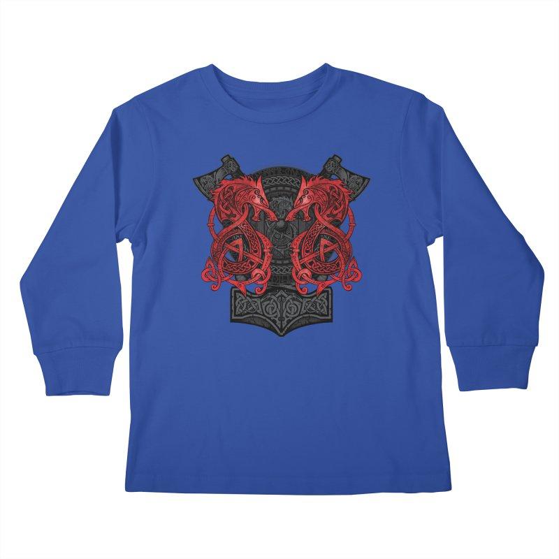 Fighting Fenrir Red Kids Longsleeve T-Shirt by Celtic Hammer Club