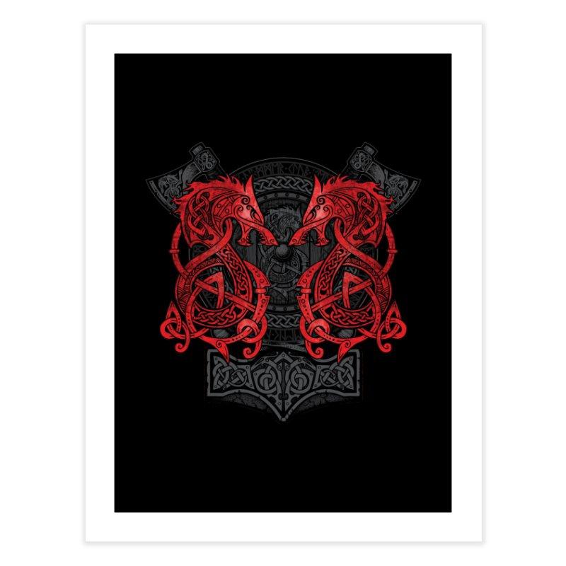 Fighting Fenrir Red Home Fine Art Print by Celtic Hammer Club