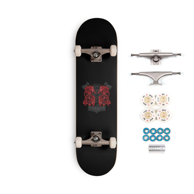 Fighting Fenrir Red Accessories Complete - Premium Skateboard by Celtic Hammer Club