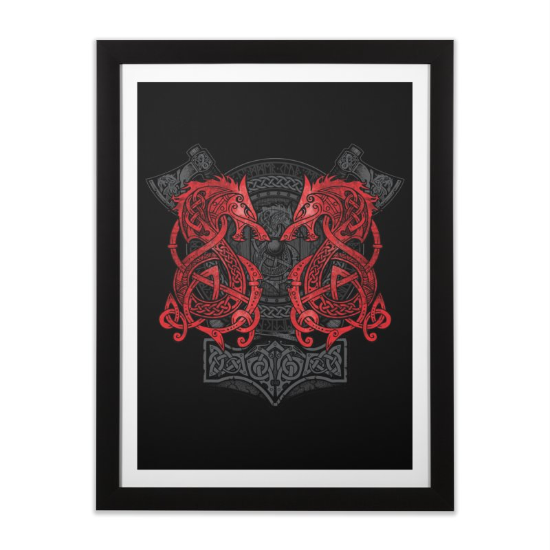 Fighting Fenrir Red Home Framed Fine Art Print by Celtic Hammer Club