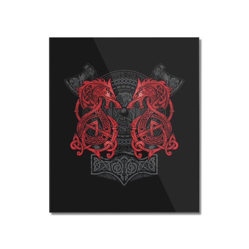 Fighting Fenrir Red Home Mounted Acrylic Print by Celtic Hammer Club