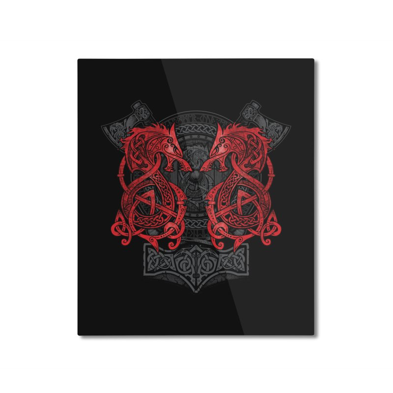 Fighting Fenrir Red Home Mounted Aluminum Print by Celtic Hammer Club