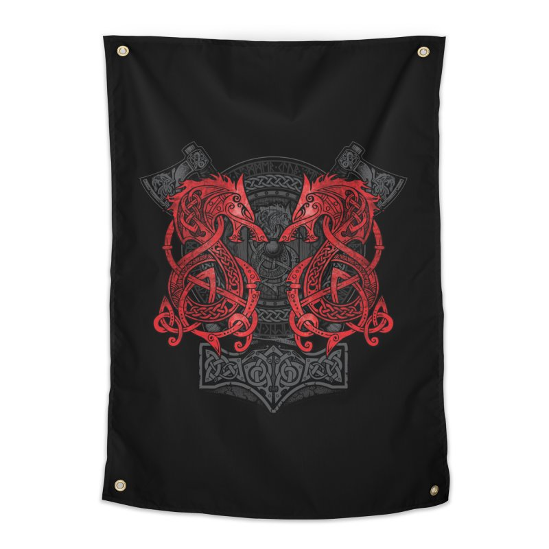 Fighting Fenrir Red Home Tapestry by Celtic Hammer Club