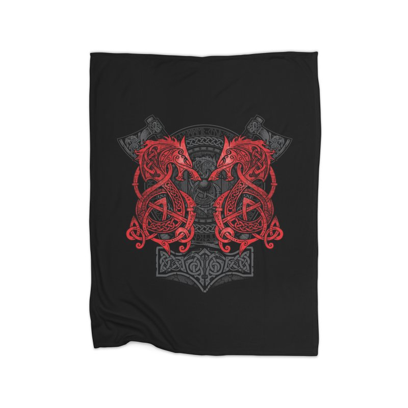 Fighting Fenrir Red Home Blanket by Celtic Hammer Club