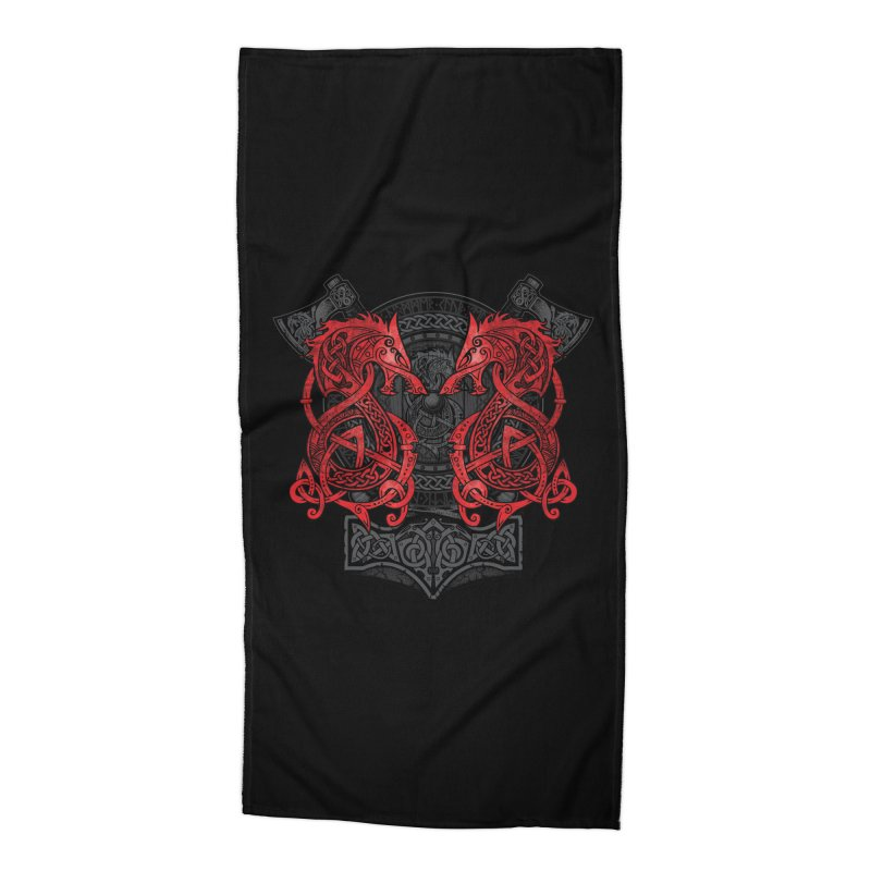 Fighting Fenrir Red Accessories Beach Towel by Celtic Hammer Club