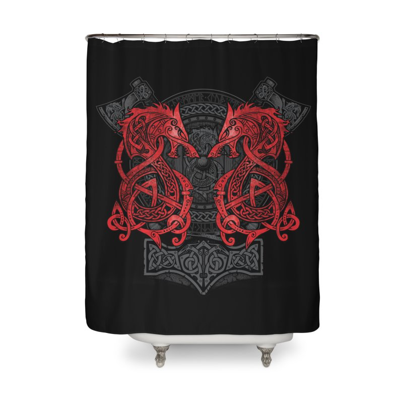 Fighting Fenrir Red Home Shower Curtain by Celtic Hammer Club