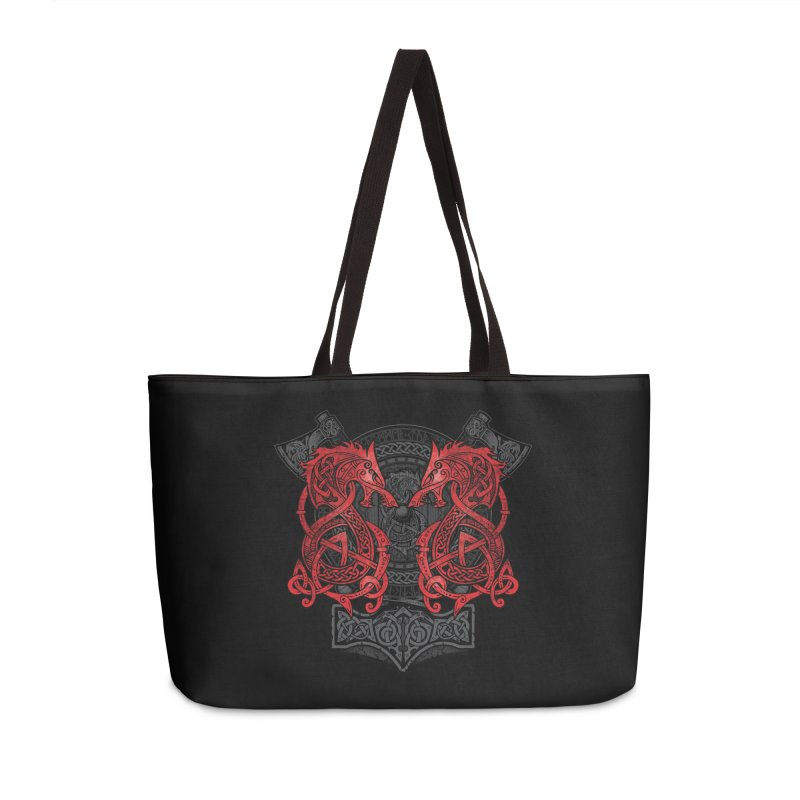 Fighting Fenrir Red Accessories Weekender Bag Bag by Celtic Hammer Club