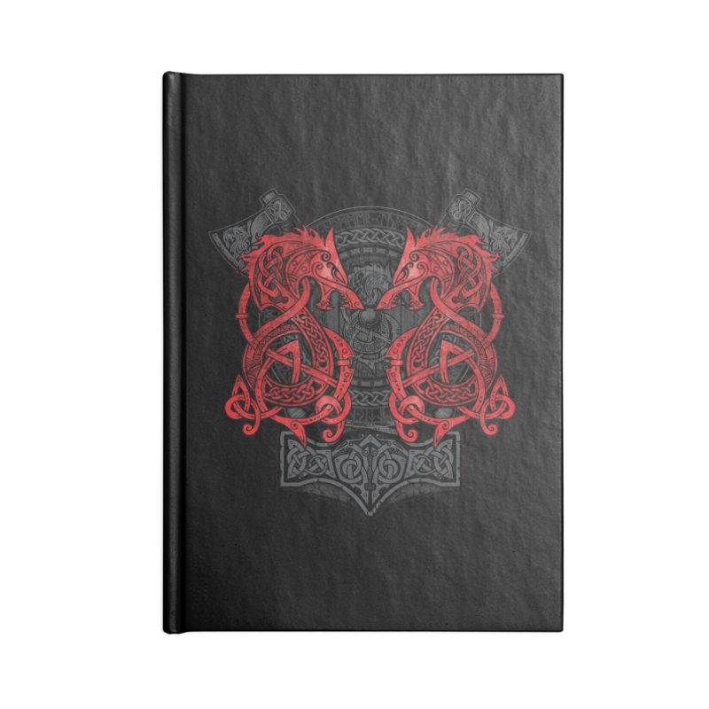 Fighting Fenrir Red Accessories Blank Journal Notebook by Celtic Hammer Club
