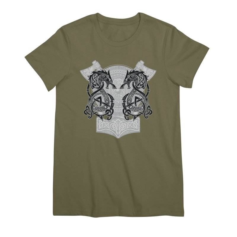 Fighting Fenrir Black Women's Premium T-Shirt by Celtic Hammer Club