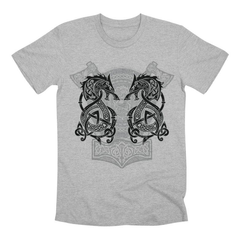 Fighting Fenrir Black Men's Premium T-Shirt by Celtic Hammer Club