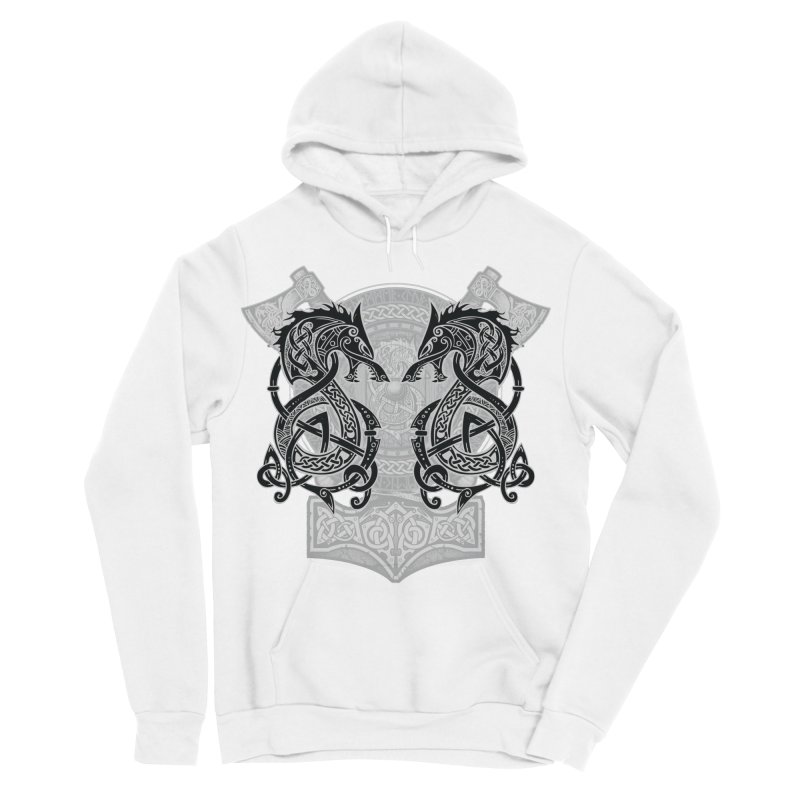 Fighting Fenrir Black Women's Sponge Fleece Pullover Hoody by Celtic Hammer Club