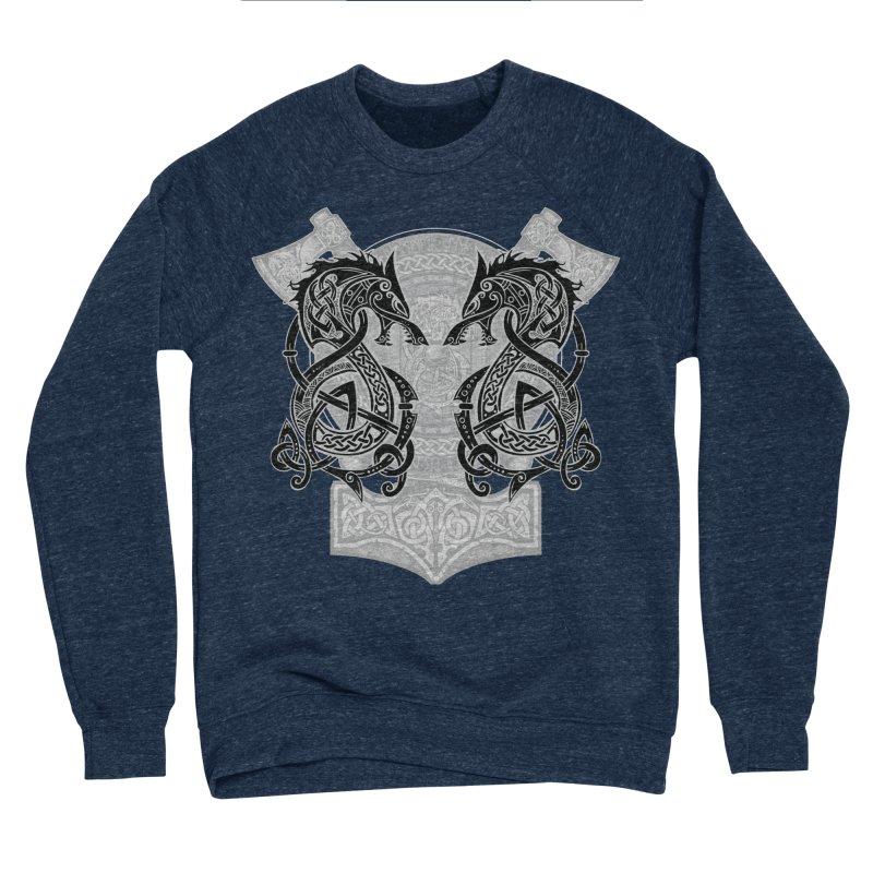 Fighting Fenrir Black Men's Sponge Fleece Sweatshirt by Celtic Hammer Club