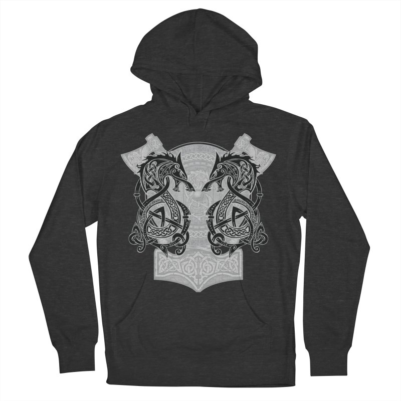 Fighting Fenrir Black Women's French Terry Pullover Hoody by Celtic Hammer Club