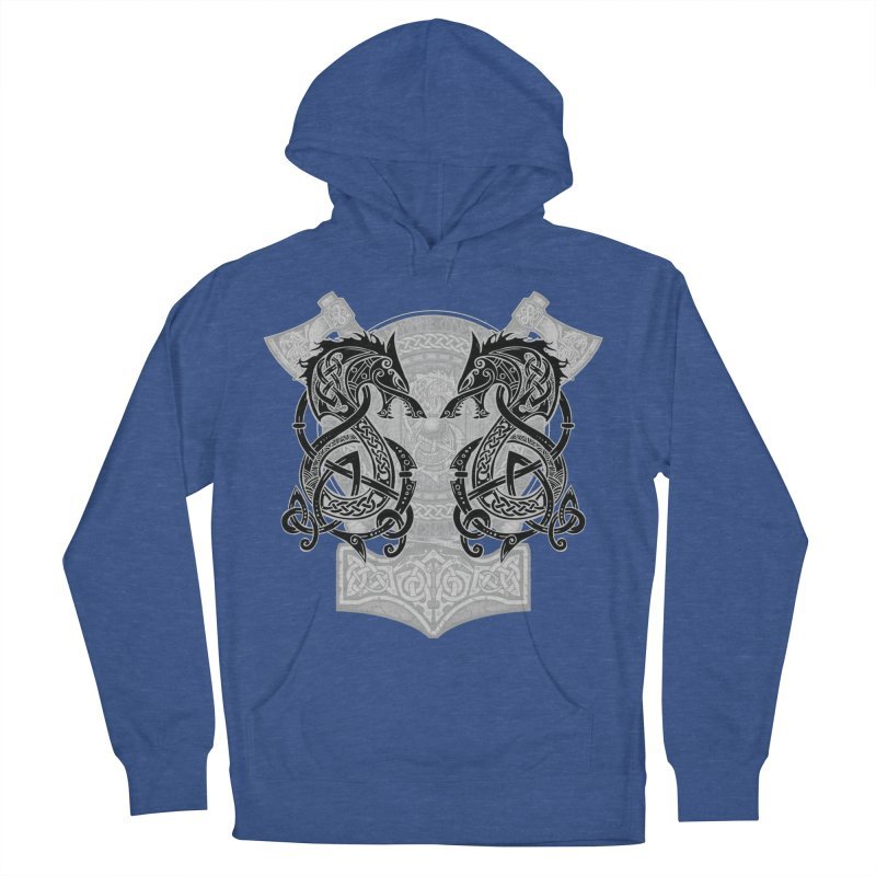 Fighting Fenrir Black Men's French Terry Pullover Hoody by Celtic Hammer Club