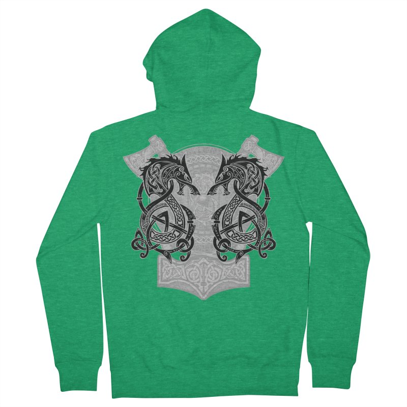 Fighting Fenrir Black Women's French Terry Zip-Up Hoody by Celtic Hammer Club