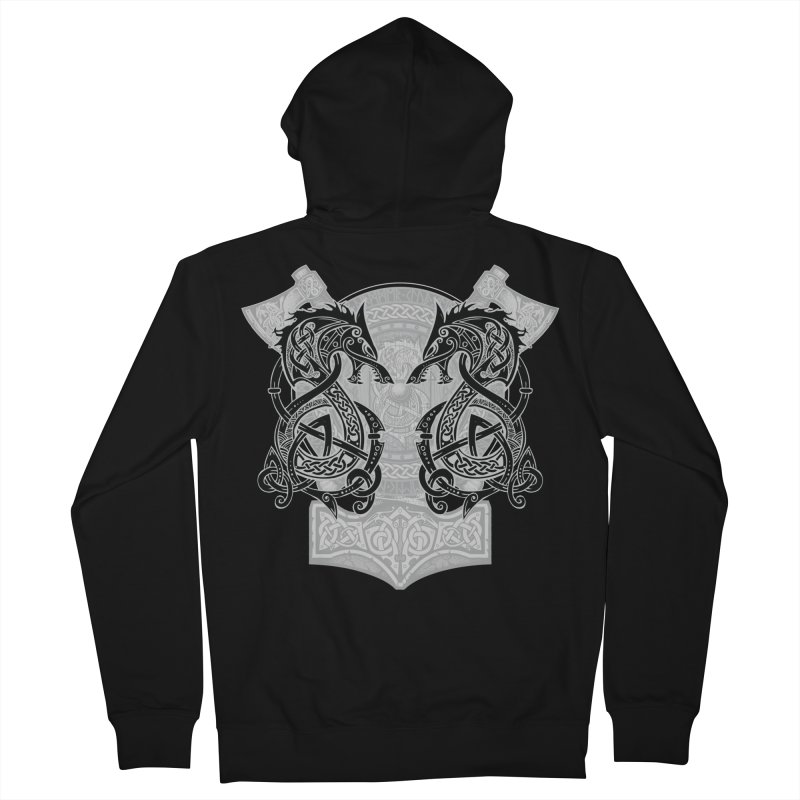 Fighting Fenrir Black Men's French Terry Zip-Up Hoody by Celtic Hammer Club
