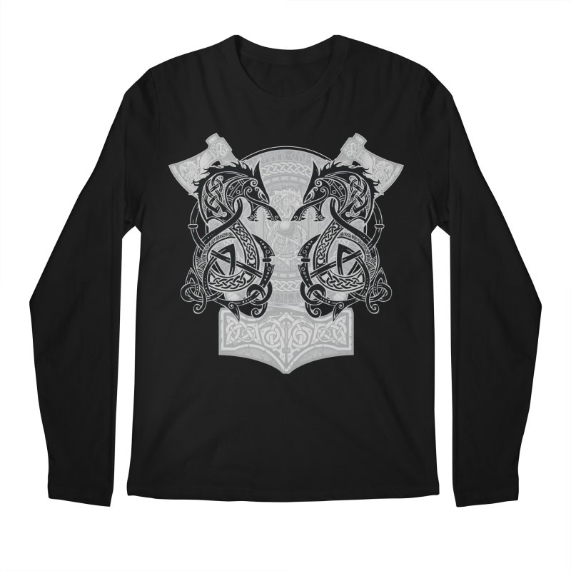 Fighting Fenrir Black Men's Regular Longsleeve T-Shirt by Celtic Hammer Club