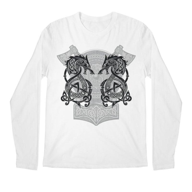 Fighting Fenrir Black Men's Regular Longsleeve T-Shirt by Celtic Hammer Club