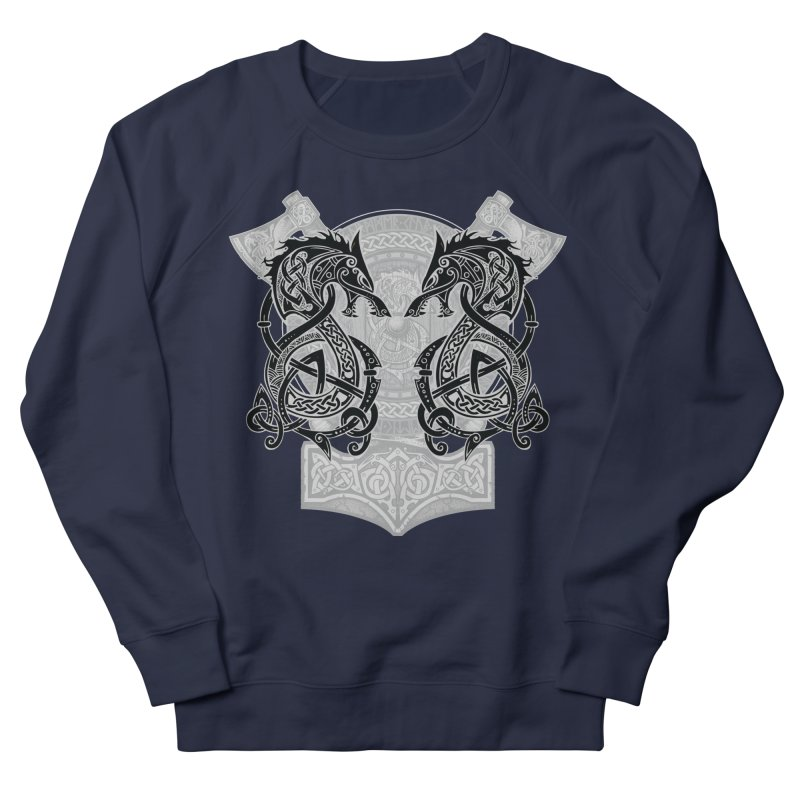 Fighting Fenrir Black Men's French Terry Sweatshirt by Celtic Hammer Club