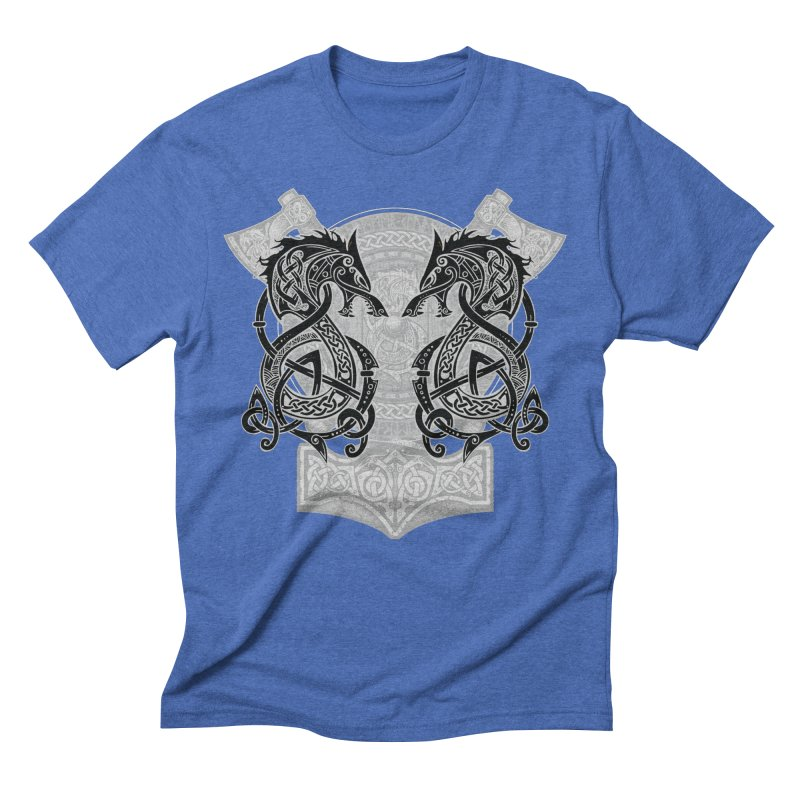 Fighting Fenrir Black Men's Triblend T-Shirt by Celtic Hammer Club