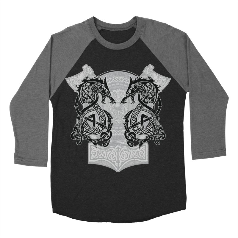 Fighting Fenrir Black Women's Baseball Triblend Longsleeve T-Shirt by Celtic Hammer Club