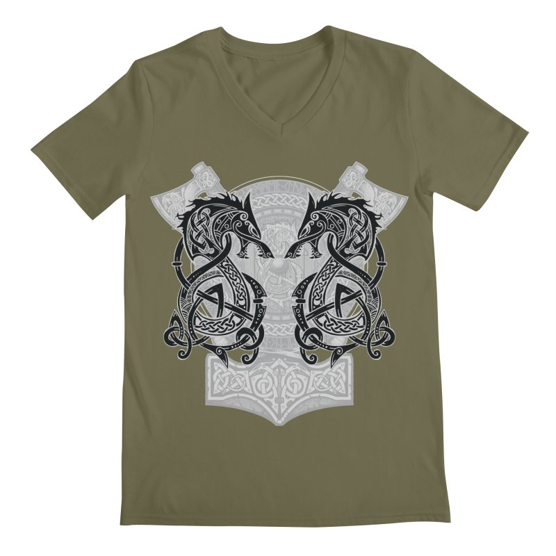 Fighting Fenrir Black Men's Regular V-Neck by Celtic Hammer Club