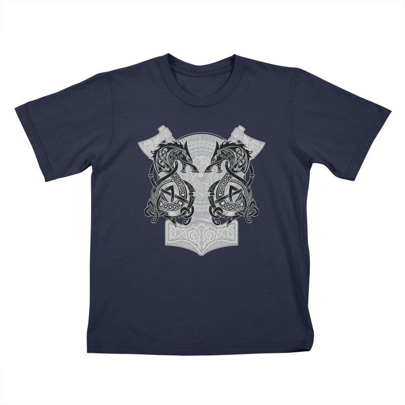 Fighting Fenrir Black Kids T-Shirt by Celtic Hammer Club