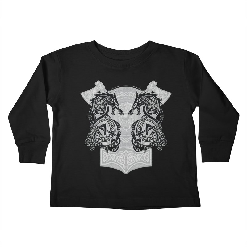 Fighting Fenrir Black Kids Toddler Longsleeve T-Shirt by Celtic Hammer Club
