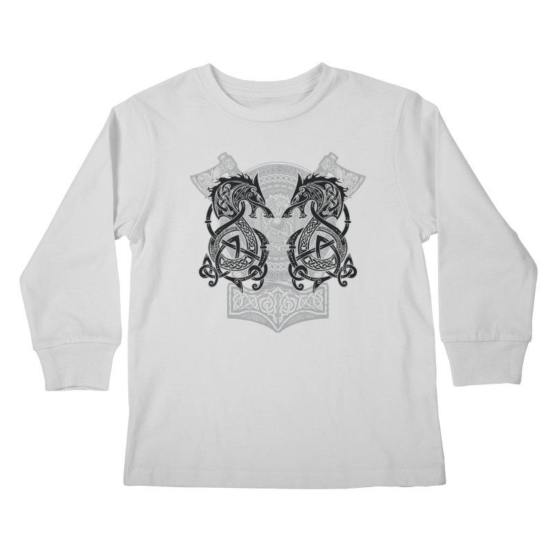 Fighting Fenrir Black Kids Longsleeve T-Shirt by Celtic Hammer Club