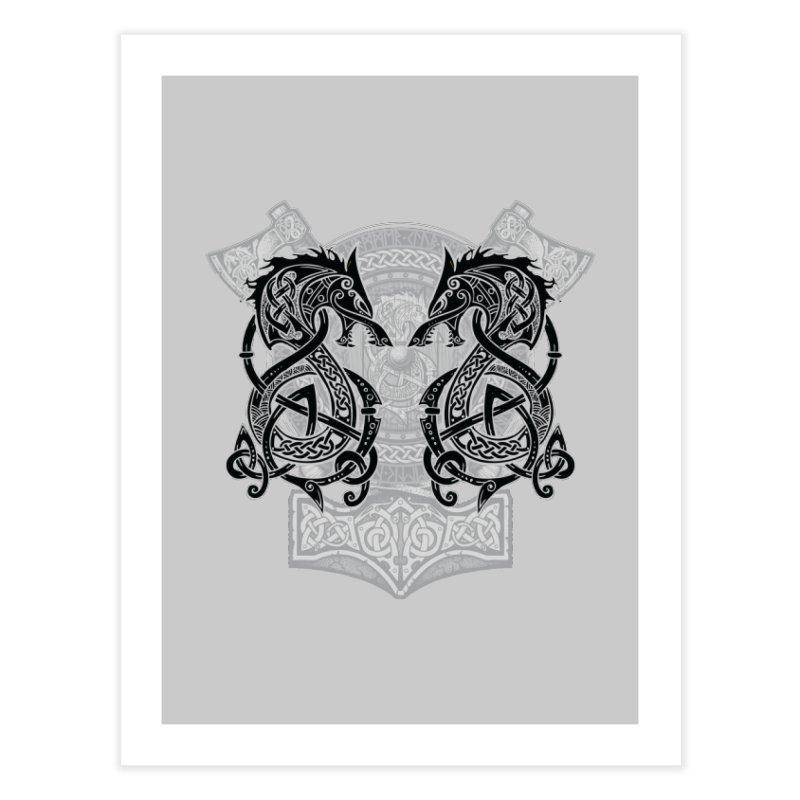 Fighting Fenrir Black Home Fine Art Print by Celtic Hammer Club