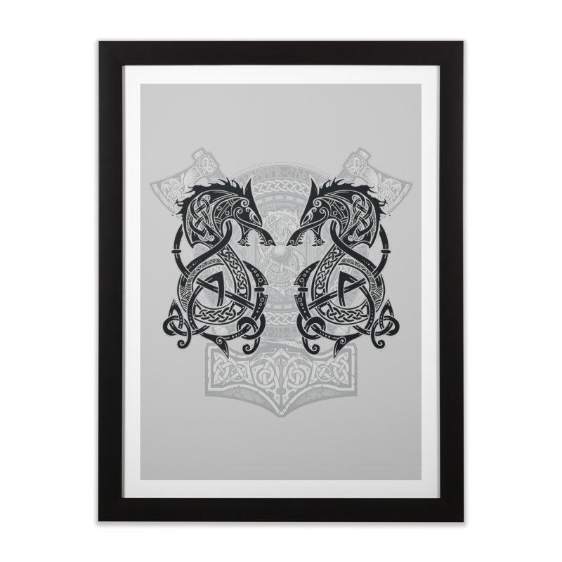 Fighting Fenrir Black Home Framed Fine Art Print by Celtic Hammer Club