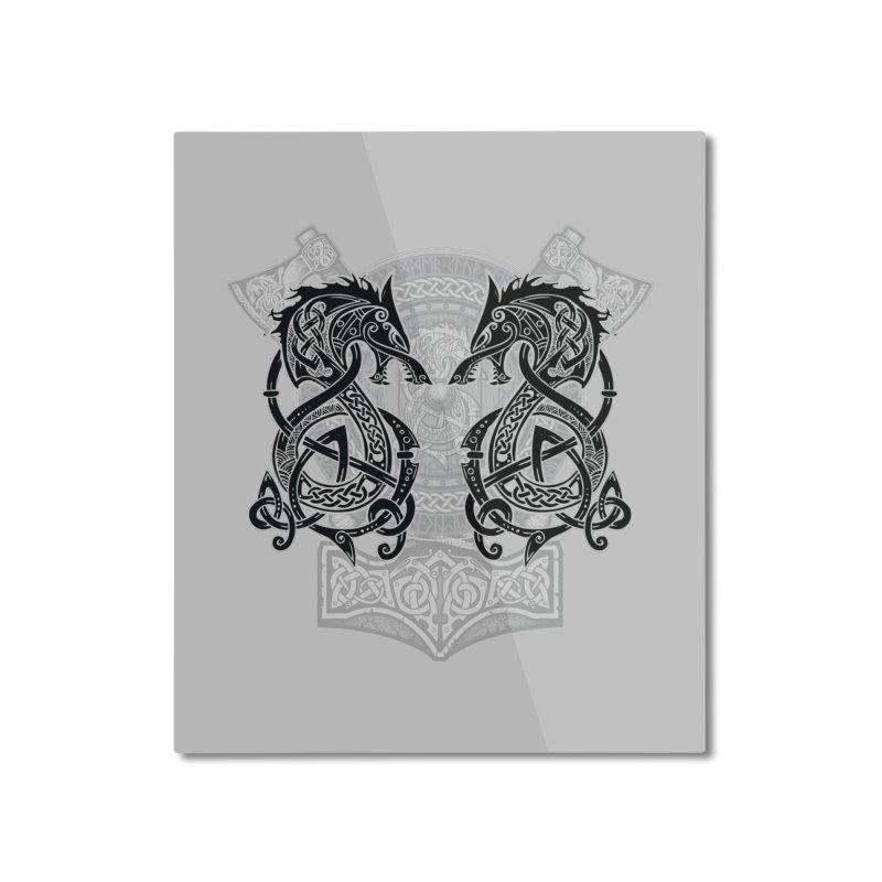 Fighting Fenrir Black Home Mounted Aluminum Print by Celtic Hammer Club