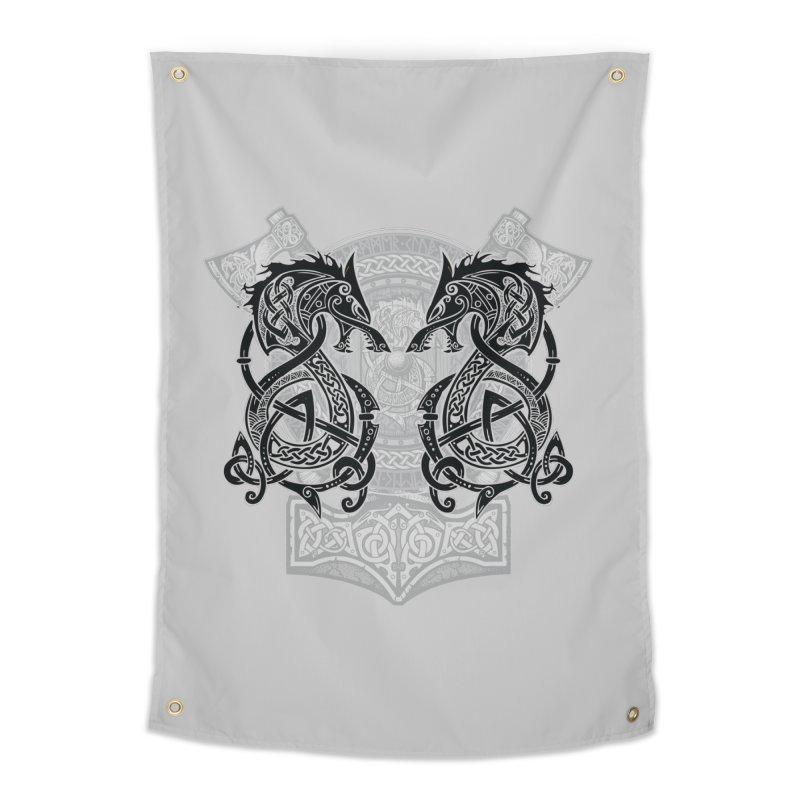 Fighting Fenrir Black Home Tapestry by Celtic Hammer Club