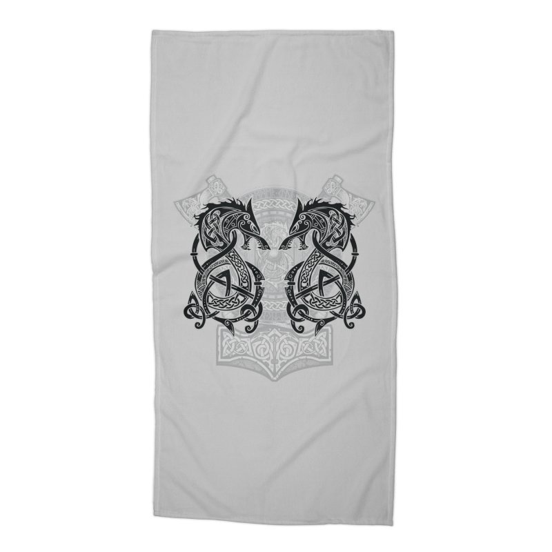 Fighting Fenrir Black Accessories Beach Towel by Celtic Hammer Club