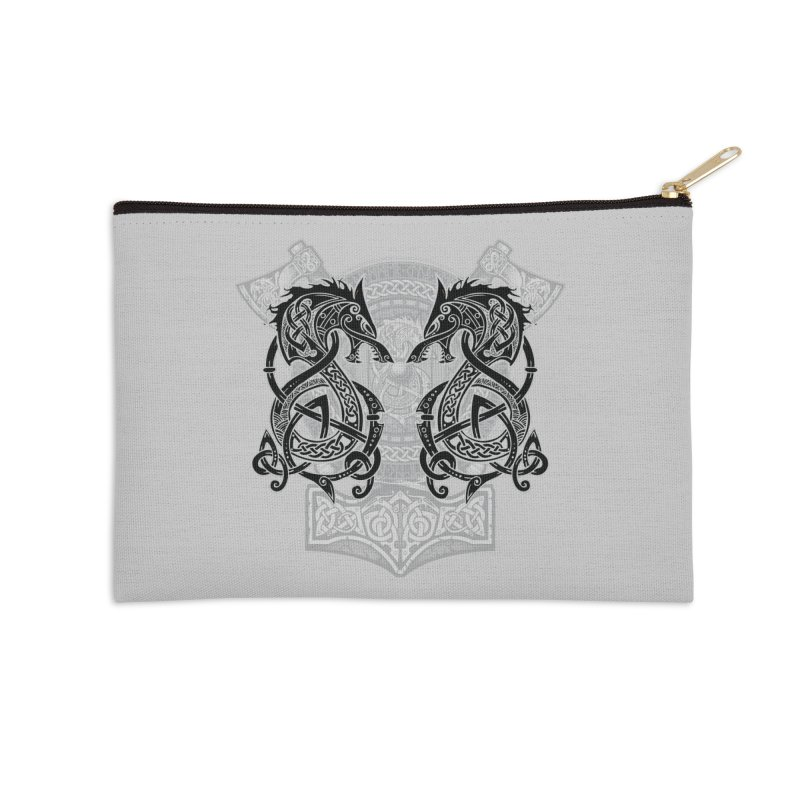 Fighting Fenrir Black Accessories Zip Pouch by Celtic Hammer Club