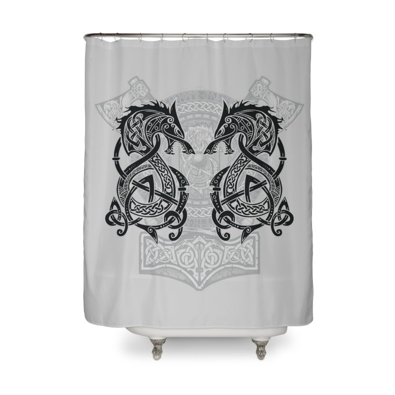 Fighting Fenrir Black Home Shower Curtain by Celtic Hammer Club