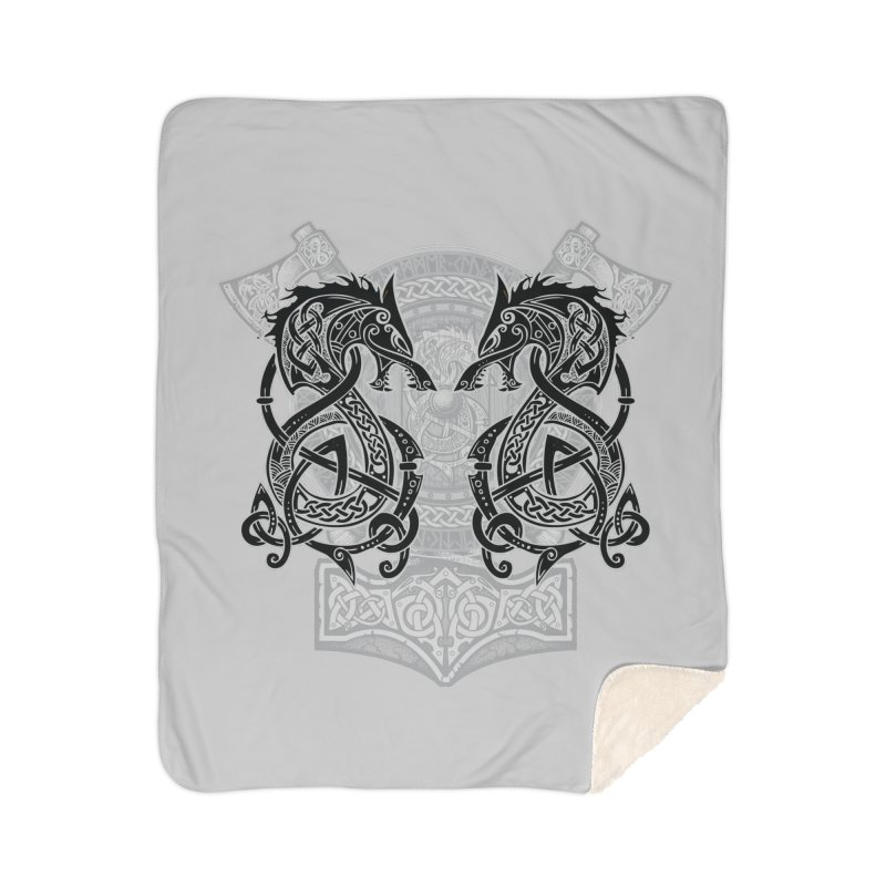 Fighting Fenrir Black Home Blanket by Celtic Hammer Club