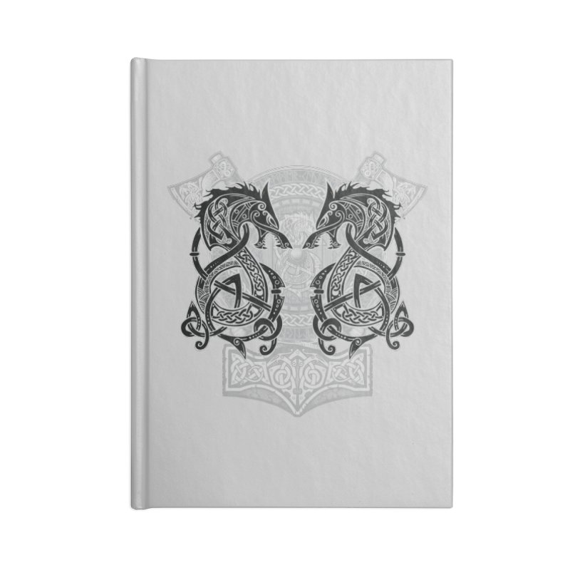 Fighting Fenrir Black Accessories Blank Journal Notebook by Celtic Hammer Club