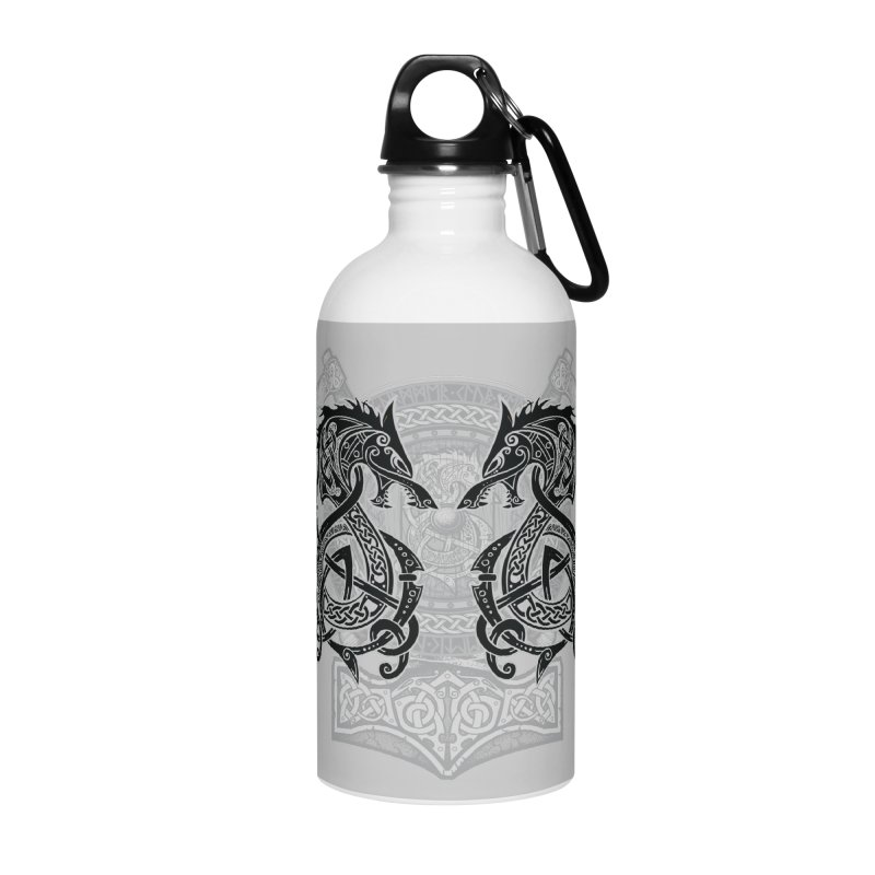 Fighting Fenrir Black Accessories Water Bottle by Celtic Hammer Club