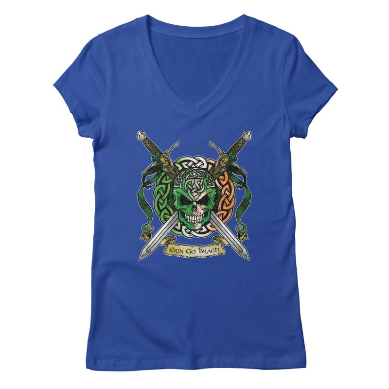 Celtic Warrior: Ireland Women's Regular V-Neck by Celtic Hammer Club