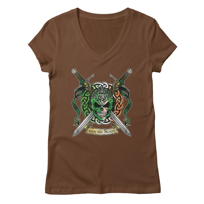 Celtic Warrior: Ireland Women's Regular V-Neck by Celtic Hammer Club