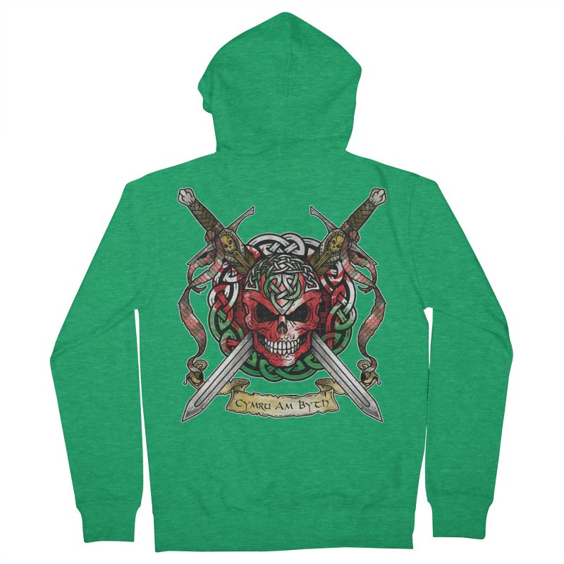 Celtic Warrior: Wales Women's French Terry Zip-Up Hoody by Celtic Hammer Club