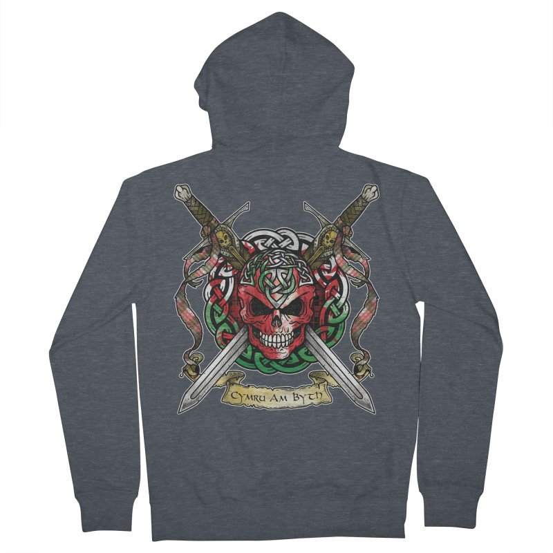 Celtic Warrior: Wales Men's French Terry Zip-Up Hoody by Celtic Hammer Club