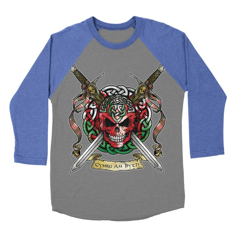 Celtic Warrior: Wales Men's Baseball Triblend Longsleeve T-Shirt by Celtic Hammer Club