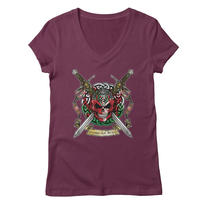 Celtic Warrior: Wales Women's Regular V-Neck by Celtic Hammer Club