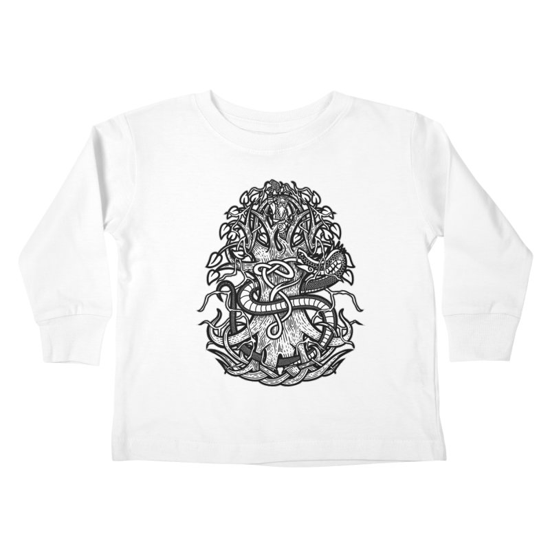 Yggdrasil Ragnarok Kids Toddler Longsleeve T-Shirt by Celtic Hammer Club