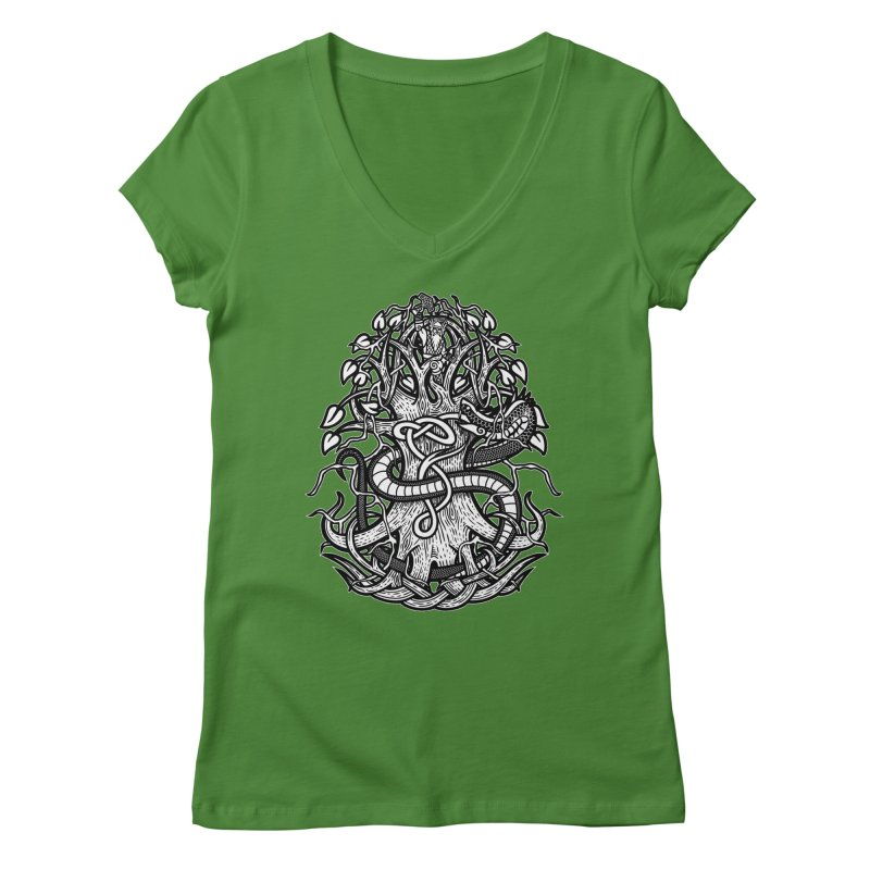 Yggdrasil Ragnarok Women's Regular V-Neck by Celtic Hammer Club