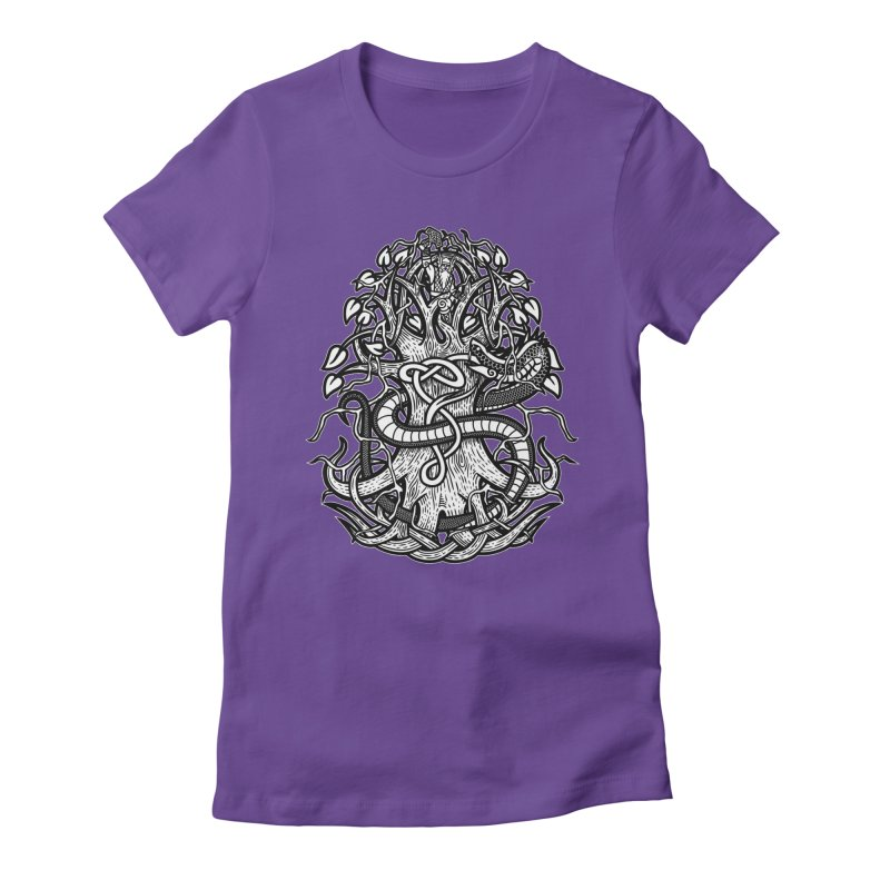 Yggdrasil Ragnarok Women's Fitted T-Shirt by Celtic Hammer Club